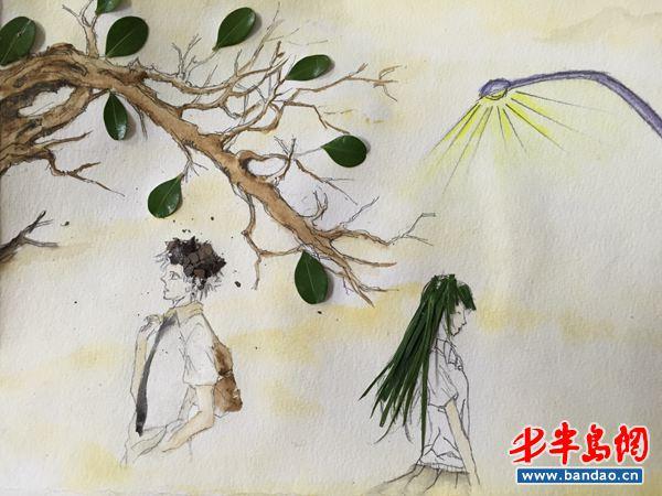 半岛网12月10日消息 树叶也能作画,近日,青岛理工大学学子举办了以叶忆情主题创意活动。该活动以树叶为载体,同学们在树叶上发挥想象力,进行创作。记者在现场看到,有的作品把树叶裁成小块,拼凑出历史人物,山川地图;有的作品通过树叶的组合,设计出漂亮的图案;还有的作品展现了选手的画功,在树叶上画起了亭台楼阁。