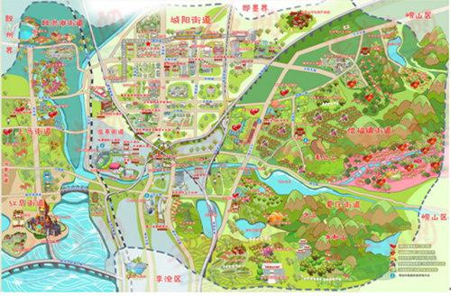城阳区旅游手绘地图新鲜出炉 吃住玩一目了然
